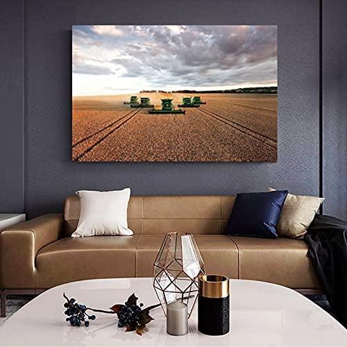 Cuadros de pared de lienzo Varias cosechadoras John Deere trabajan en una granja grande para cosechar cultivos Imprimir Decoración de dormitorio familiar moderno 50x70cm sin marco