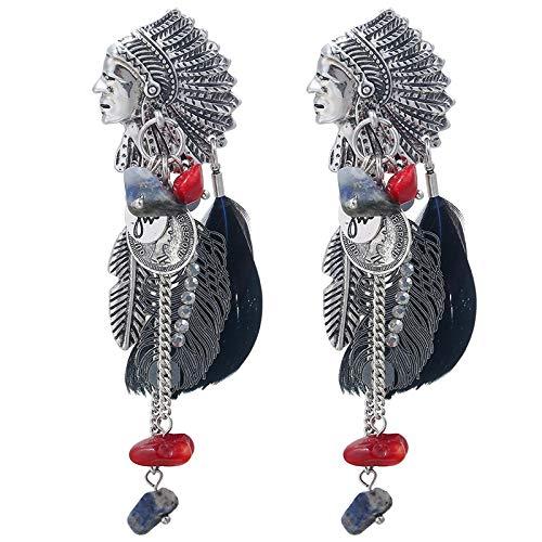 Vintage Boho Oorbellen met Veren, Zilver of Goud Indianen Chief - Clip On - Niet Piercing - Nikkelvrij - Premium Design Damesmode Sieraden