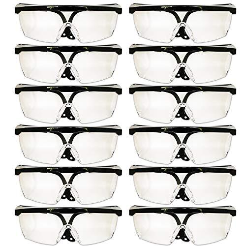 Com Pack 10 gafas protectoras seguridad laboral lentes transparentes protección UV antivaho-antiarañazos-antipolvo patilla ajustable uso industrial laboratorio agricultura deporte entretenimiento