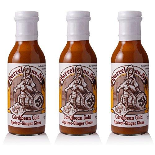 Barrel No. 51 Caribbean Gold Apricot-Ginger Glaze Set, milde BBQ-Sauce, exotische Grill-Sauce für das Barbecue, pikant-fruchtig, 3 Stück
