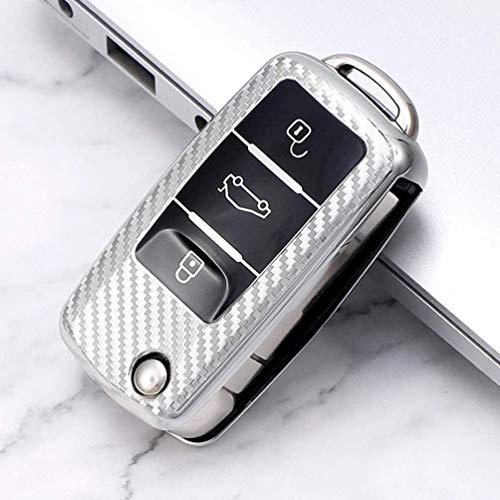 Autoschlüssel-Schutzhülle, weiche TPU-Halterung, für Bora Passat Golf 4 5 6 Jetta MK4 Polo Touran, 3 Tasten Fernbedienung Schutz Carbon Silver