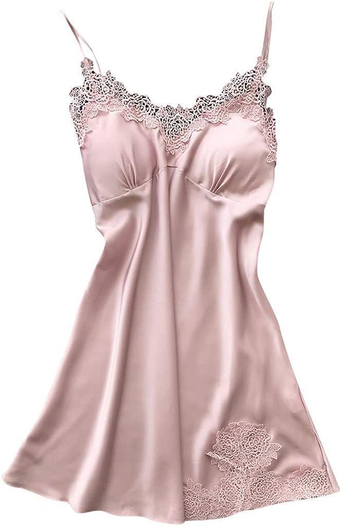 JOFOW Sling Nightgown Sexy Lace Sleeveless Pajama Women Robe Babydoll Sleepwear Dress