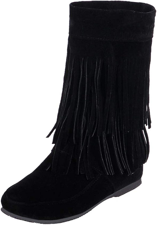 LIURUIJIA Women's Girls Suede Tassels Fringe Hidden Wedge Heel Ankle Boots Slip-on Bootie LSX-50668