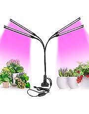 PDGROW Led-plantenlamp, 80 W, 80 W, met 80 leds, volledig spectrum, groeilamp voor kamerplanten met 4 koppen, 3/9/12 uur timer, 9 dimbare niveaus, 360 graden verstelbare zwanenhals