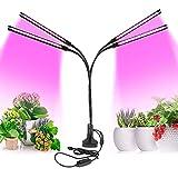 Lampe Horticole 80W, PDGROW Lampe de Croissance à LED pour Plantes D'intérieur avec 4 Têtes, Minuterie 3/9/12H, 9 Niveaux à Intensité Variable, Col de Cygne Réglable à 360°