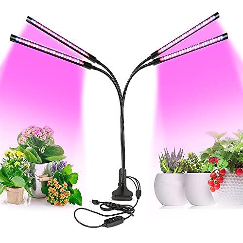 Pflanzenlampe, PDGROW LED Pflanzenlicht 80W Pflanzenleuchte 80 LED Vollspektrum Wachstumslampe für Zimmerpflanzen mit 4 Köpfe, 3/9/12H Timer, 9 dimmbaren Ebenen, 360 Grad verstellbarer Schwanenhals