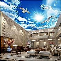 Lcymt 天井壁画壁紙3Dステレオ青空白い雲鳩自然風景写真壁画天井壁紙-120X100Cm