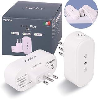 Presa smart Aunics, Presa alexa, Mini Presa wifi ITALIANA, 2 Pezzi Presa intelligente 15A compatibile con Google home, Ama...
