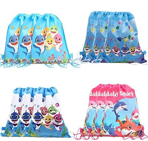Clerfy Acc 12 pcs Mochilas Tiburón Joven, Bolsas con Cordón Mochila Party Bolsas Tela no Tejida Escolar Hombro Mochila de Viaje Bolsa de Baile Gimnasio para Adolescentes Niños niñas Cumpleaños