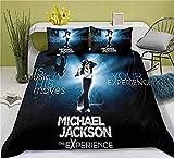 Juego de Funda Nórdica Michael Jackson 135 x 200 cm Músico Juego de Cama Juego de Colchas 3 Piezas Cantante de Rock Negro Microfibra Funda Nórdica Música Rock Leyenda para Adulto Niños y Adolescentes
