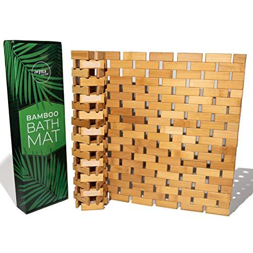 Aqua Glow Bamboo Bath Mat For Tub   Upgraded Silicone Grip Pads   Bamboo Shower Mat Non Slip Bathroom Floor Mat   Boho Bath Mats For Bathroom Tub 24x16inch   Bathmat Decor Bamboo Bathroom Accessories