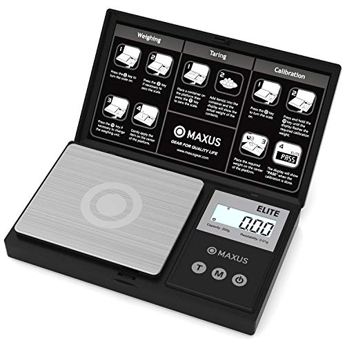 Precision Gram Scale 200g x 0.01g, MAXUS Elite Digital Pocket Scale Small Herb Scale Mini Food Scale Jewelry Scale Ounces/ Grains Scale, Easy to Carry, Great for Travel ,Backlit LCD, Stainless Steel