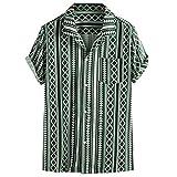 Lazzboy Uomo Camicia Top Multicolor Stripes/Color Block Plus Size Graffiti Manica Corta Bo...