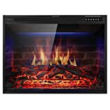 Xbeauty 33' Electric Fireplace Insert Recessed in Wall Freestanding Heater w/Large Screen Multicolor Flames,Adjustable Flame Speed,Remote Control,750w/1500w,Black