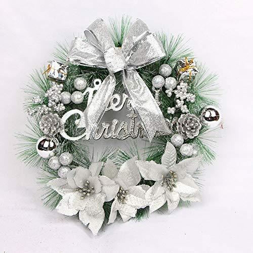 Christmas Wreath Hanging Decor Door Wall Garlandfor Xmas Party Ornament Decors (Silver, 11.8'')