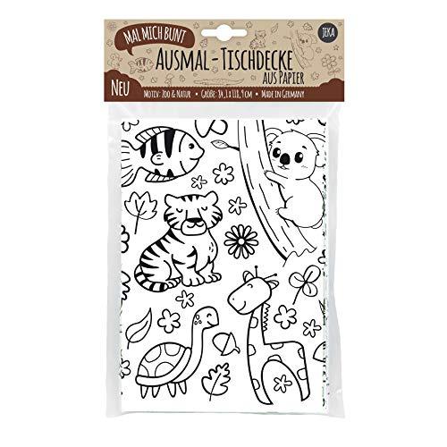 JEKA Papier-Tischdecke zum Ausmalen, Motiv Zoo, Kindertischdecke, Kindergeburtstag, Kinderbeschäftigung, Mal Mich Bunt