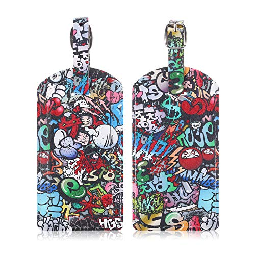 Epicgadget Luggage Tags, Travel Bag PU Leather Tag ID Label Holder with Privacy Cover Cruise Suitcase Identifier (2 Pack) (Graffiti)