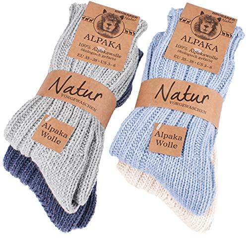 Brubaker 4 Paar Alpaka Socken sehr dick flauschig und warm - reine Alpakawolle