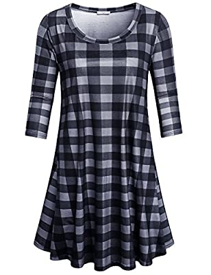 Cestyle Womens Scoop Neck 3/4 Sleeve Plaid Tunic Dress