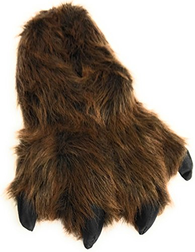 Wild Ones Furry Animal Claw Slippers for Toddlers, Kids and Adults (Large, Brown Grizzly)