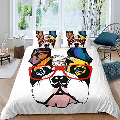 Bcooseso King size Cotton Duvet Cover set Creative colorful pug red glasses frame white Bedding sets with Zipper closure Corner ties Soft Comforter cover for boys girls men and women 3 Piece- (1 Duve