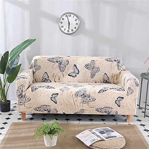 ASCV Funda de sofá de Licra elástica con Estampado de Flores y Hojas con Todo Incluido para Mascotas Funda de sofá de Estilo L Antipolvo A3 1 Plaza