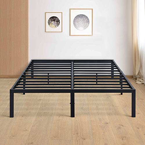 Olee Sleep 14 Inch Metal Steel Slat Platform Anti-Slip Support/No Box Spring Needed/Mattress Foundation Bed Frame, Twin, Black