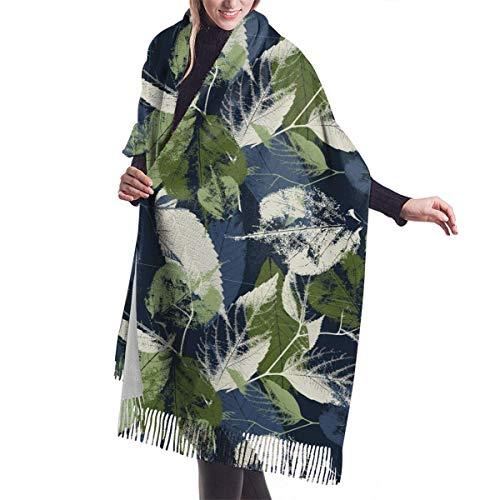 Tengyuntong Pashmina - Bufanda para mujer, diseño de hojas azules y chales para vestidos de noche | Cashmere Warm Feeling | Tamaño grande