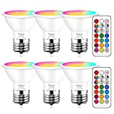 Yangcsl LED Color Changing RGB Light Bulb with Remote 40W Equivalent 400LM, 45° Beam Angle and Memory, E26 Mood Ambiance Lighting (6 Pack)