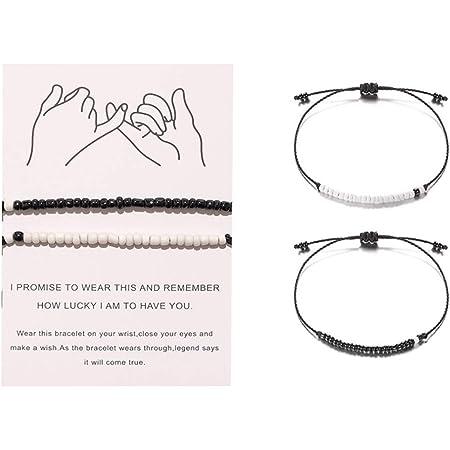 Swirlcolor Couple Armband Schwarz Matt Achat Weißer Howlith Beste Freunde Beziehung Paare Distanz Perlen 2tlg Küche Haushalt