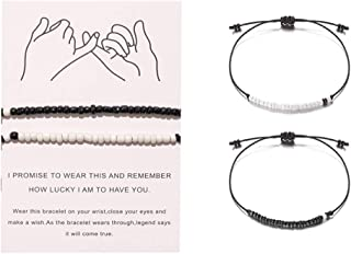 Pinky Promise Distance Matching Bracelets,for Couples,Best Friend Bracelet Gifts Boyfriend Girlfriend,Him and Her,Women Men
