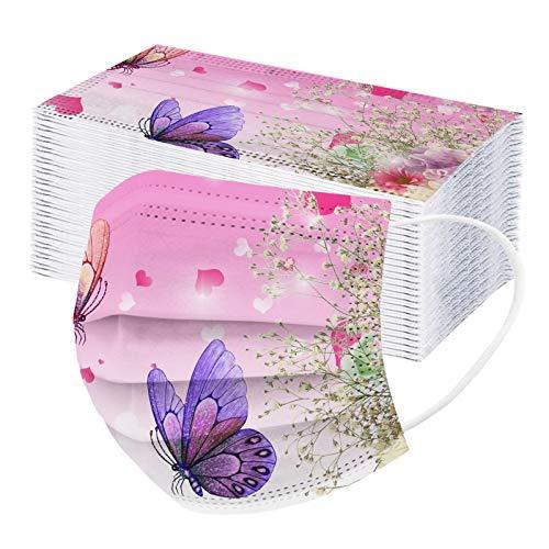 Baslinze 20 Stücke Erwachsene Butterfly Einwegschutz Dreischichtig Atmungsaktives Gesicht Mund und Nasenschutz, für Black Friday (D)