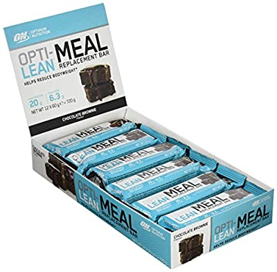 Optimum Nutrition Opti-Lean Meal Replacement Protein Bar with Vitamin B12, Vitamin C and Vitamin D and High Fibre. Protein Meal Replacement by ON Brownie, Pack of 12, 60g