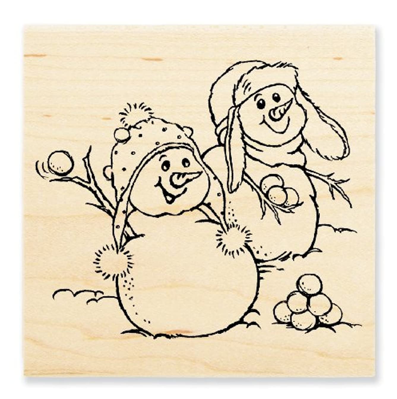 STAMPENDOUS, Wood Handle Stamp, Snowball Fight