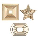 BENECREAT 3 Set Troquel de Corte Diseño de Marco Molde de Acero al Carbono para Álbum de Corte Artesanía de Papel DIY Marco Estrella y Cuadrado