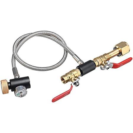 Soda Valve CO2 Cylinder Refill Adapter Double Valve DIN477 with Soda Black Valve ASA with User Manualfor Soda Stream