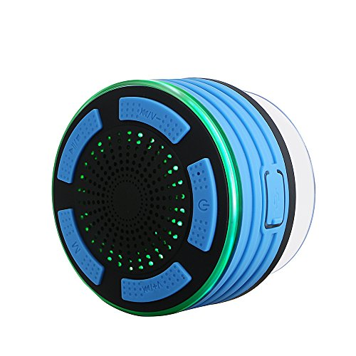 Archeer Shower Speaker, IPX7 Waterdichte Bluetooth Speaker met zuignap, LED Light, Buit-in Mic, Hands-Free Speakerphone voor douche, Compatibel met iPhone, iPad, Samsung en meer Blauw