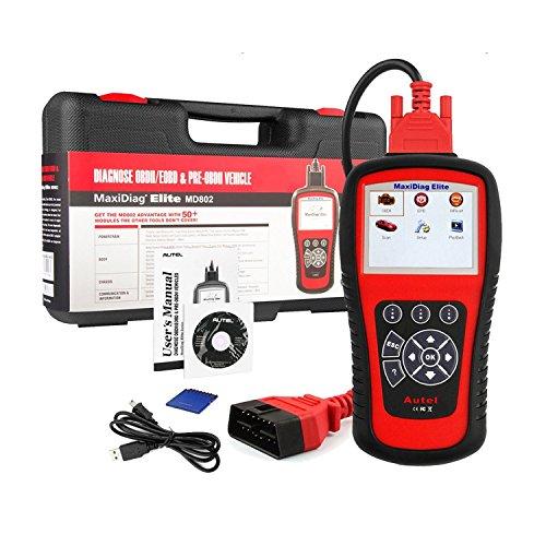 Autel Scanner MD802 OBD2 Lecteur de Code MaxiDiag Elite, outil diagnostique d'analyse de la Voiture pour moteur, Transmission,ABS, airbag,EPB,réinitialisation de Service d'huile et SRS