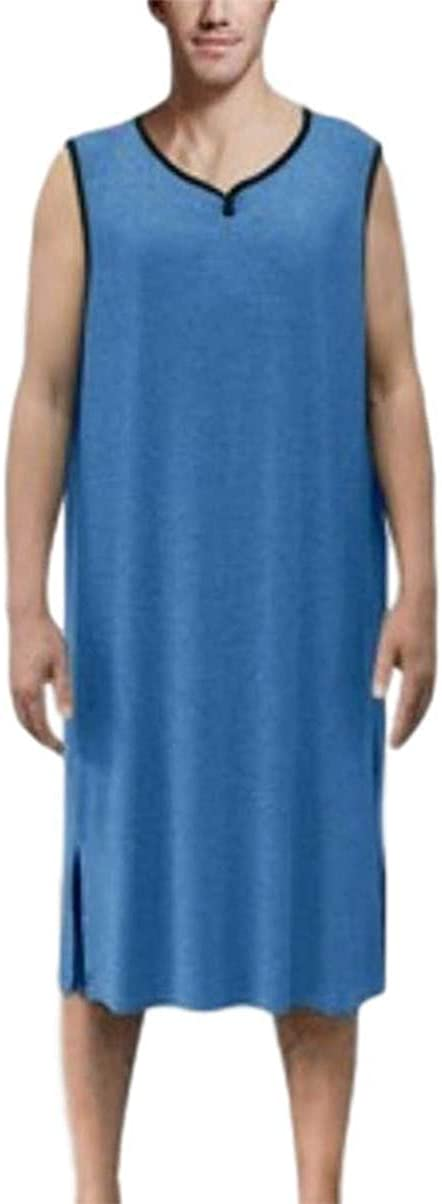 jsadfojas Camicia da notte da uomo con scollo a V a manica corta in cotone pigiama top grande e alto allentato oversize