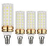 Lampadina EKSAVE E14 a LED, Lampadina 12W E14 a Candelabro LED, equivalente a lampadine da 80-100 Watt, Lampadine a candela da 1200 Lumens LED, Bianco, Siluro, Non dimmerabile (6000K, 4pz)