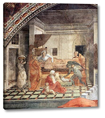 """St Stephen is Born and Replaced by Another Child Detail by Fra Filippo Lippi - 21"""" x 24"""" Gallery Wrap Canvas Art Print - Ready to Hang"""