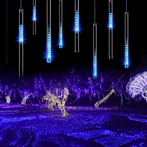 Rain Drop String Lights, ZCPlus LED Meteor Shower Tube Lights 11.8 Inch 8 Tubes Icicle Snow Falling Fairy Light for Xmas Wedding Party Holiday Garden Decoration(Ice Blue)