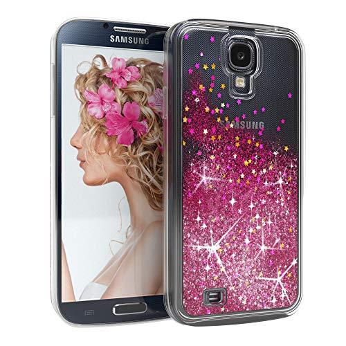 EAZY CASE Hülle kompatibel mit Samsung Galaxy S4 / S4 Neo Schutzhülle mit Flüssig-Glitzer, Handyhülle, Schutzhülle, Back Cover mit Glitter Flüssigkeit, aus TPU/Silikon, Transparent/Durchsichtig, Pink