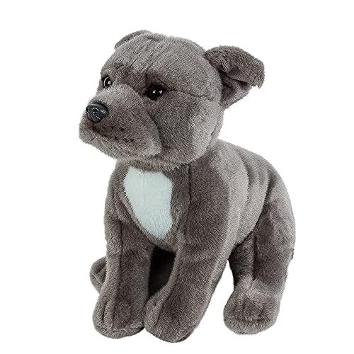 Teddys Rothenburg Kuscheltier Hund grau 30 cm American Staffordshire Terrier Plüschtiere Hunde Pitbull