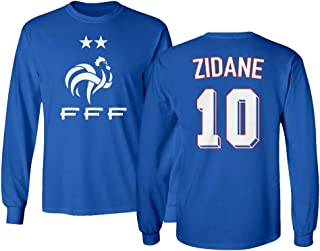 Tcamp Soccer Legends #10 Zinedine Zidane Jersey Style Men's Long Sleeve T-Shirt