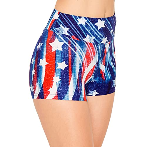 ALWAYS Women Workout Yoga Shorts - Premium Buttery Soft Solid Stretch Cheerleader Running Dance Volleyball Short Pants USA American Flag 1759 M