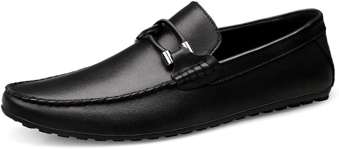 Mocassins de Conduite pour Hommes, Bateau, Mocassins, Texture de Relief Classique en Cuir Ox Style,Chaussures de Cricket (Couleur   Noir, Taille   46 EU)