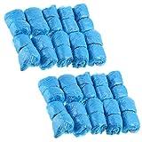 Lot de 200 couvre-chaussures jetables en plastique pour protéger le sol – Bleu, taille unique, 100 paires