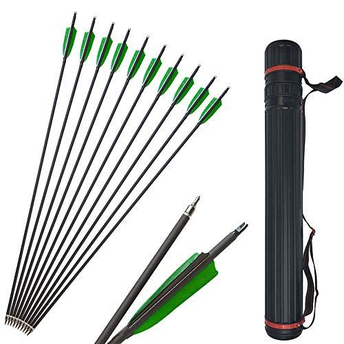 SHARROW 12 Stücke Carbonpfeile 31 Zoll Bogenpfeile mit Naturfedern Jagd Pfeile für Bogen 500 Spine mit Pfeilköcher für Recurvebogen Compound Bogen (Typ 2:)