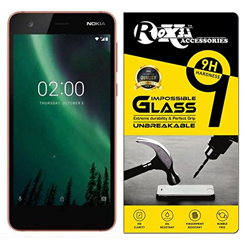 Roxel® Nokia 2 360° Flexiable Tempered Glass with Unbreakable Impossible Film Glass [ Better Than Tempered Glass ] Screen Protector for Nokia 2 (Copper/Black, 8 GB)